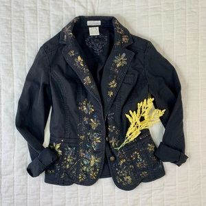Black FDJ Jean Jacket Size Small Hand Painted